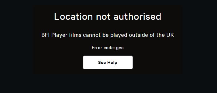 BFI Player Outside UK error