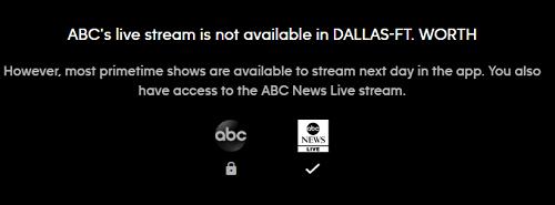 ABC Live Stream error