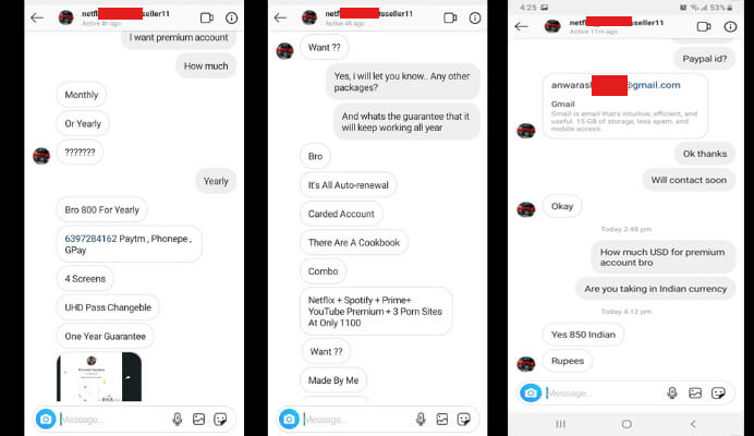 netflix stolen accounts on instagram